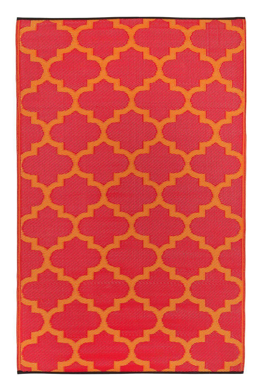 TAPPETO Outdoor, per esterno + interno, cucina giardino d'inverno balcone Tangeri Arancione Rosso