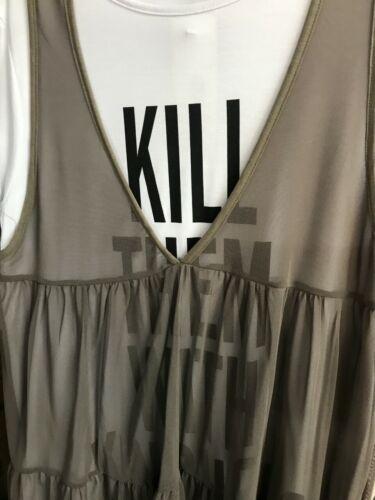 """Femmes Plus Taille Sheer Mesh /""""les TUER avec gentillesse le slogan de tulle robe t-shirt"""