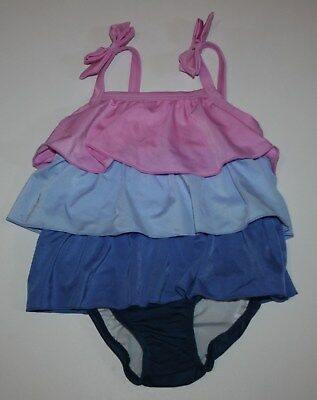 NEW Gymboree Girls 1 Piece Swimsuit Blue Peacock Birds Ruffle Straps 2T 3T 5T