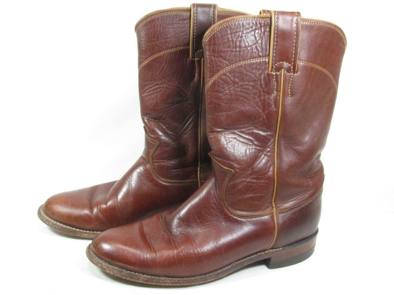 6.5 Justin Roper Boots Womens Tan Leather Western Cowboy Boots Vintage 80s  Made in USA Sz