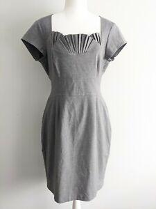 Women's Vintage Portmans Grey Pleat Neck Bodycon Midi Corporate Dress Size 12