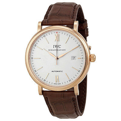 IWC Portofino 18kt Rose Gold Case Leather Strap Automatic Mens Watch 3565-04