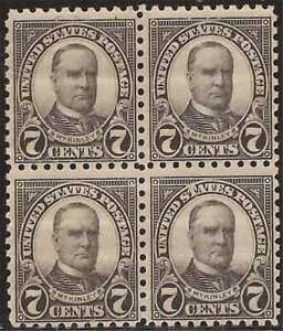 US Stamp - 1926 7c McKinley - Perf 10 Block of 4 NH Stamps #588