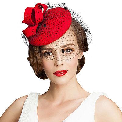 A195 Ladies Hollow Felt Wool Fascinator Cocktail Formal Racing Wedding Hat Ascot