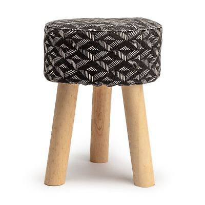 Footstool Side Table White Aztec Geometric Black Round Stool Tripod Wood Legs