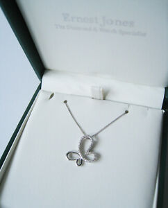 New-without-tags-Ernest-Jones-9CT-White-Gold-Diamond-Butterfly-Necklace