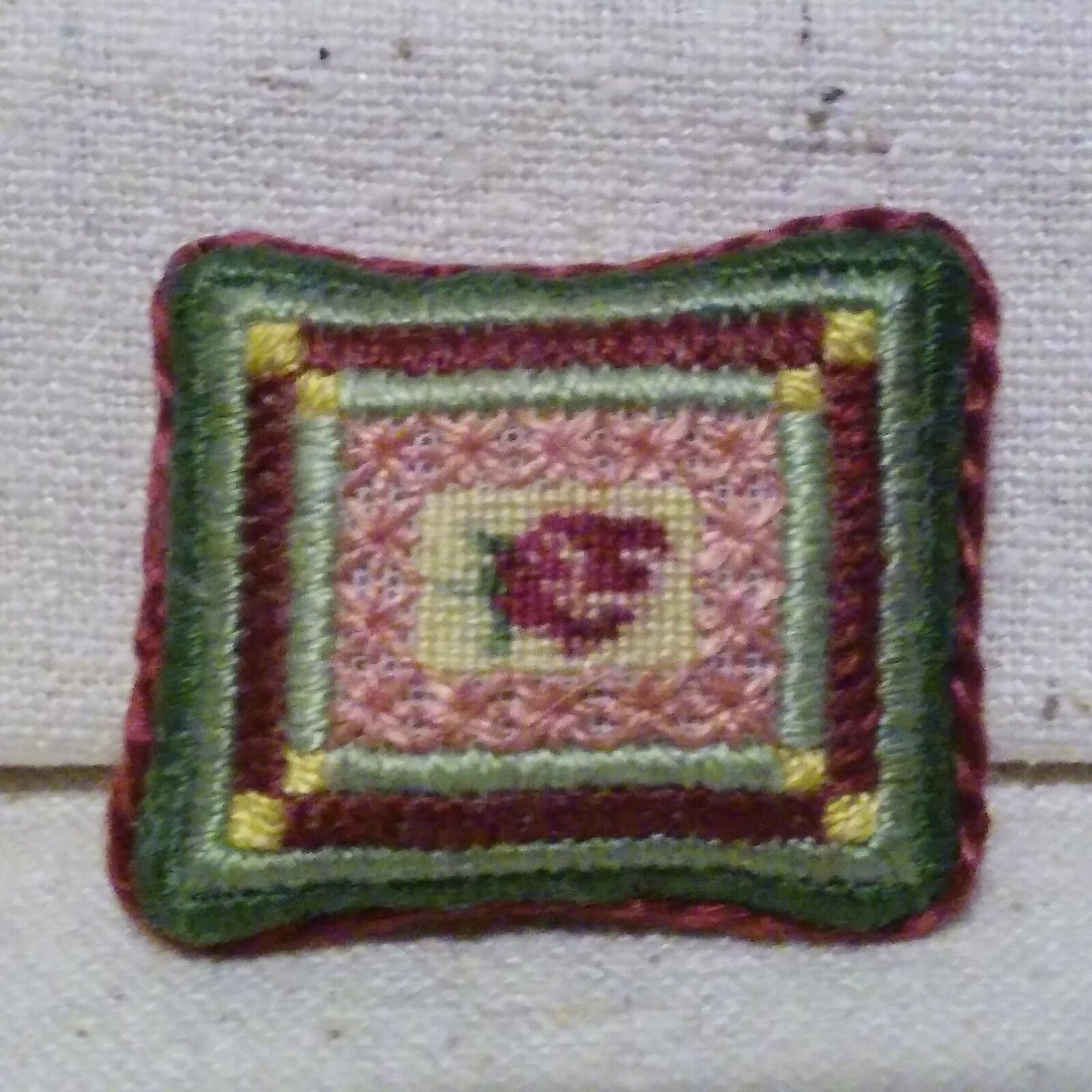 Miniature pillow petit point dollhouse 1:12