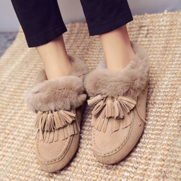 Donna Warm Snow Stivali Tassel Flats Suede Faux Fur Anjke Stivali Shoes Winter New