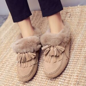 Mocassini donna Pull Tassel da neve On Flat da Caldo Suede stivali Mgic Shoes Fur rpr6qxw