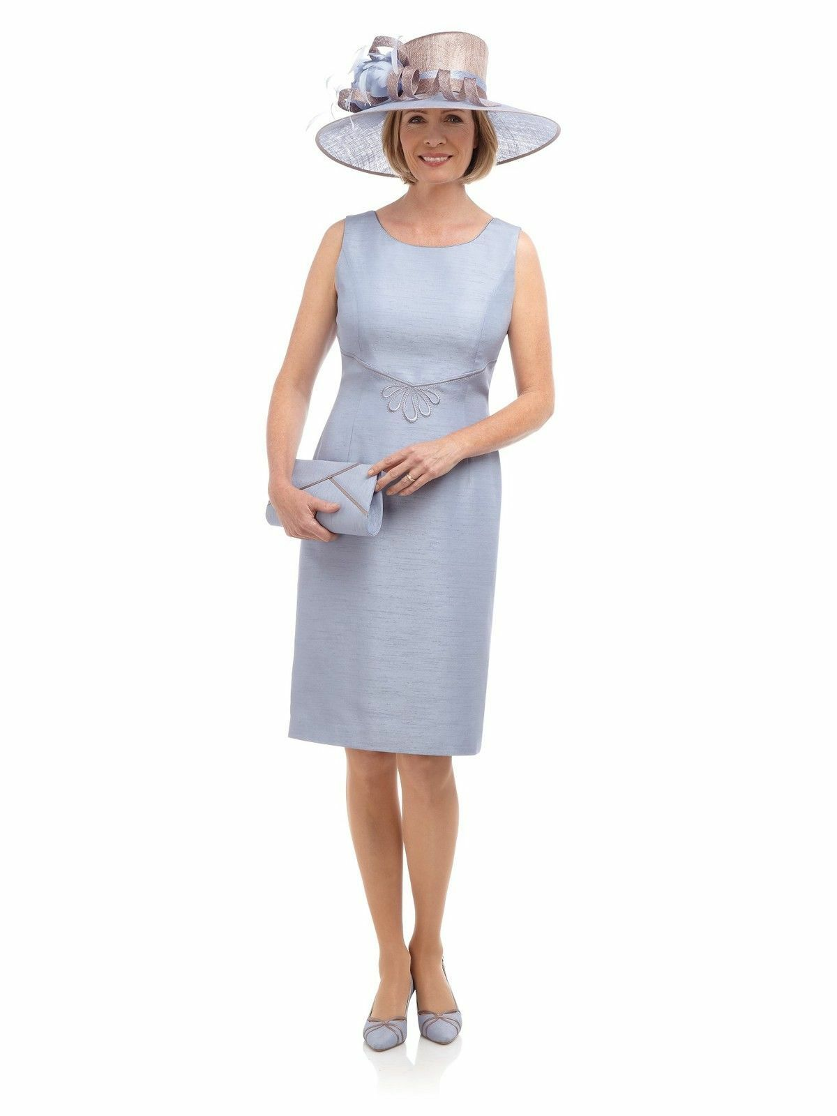 New Jacques Vert dress Ice Blue Shantung shift scroll embroidered Piped rrp