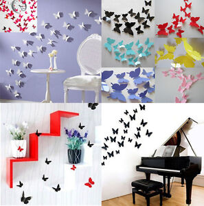 Gr 12 pcs 3d diy wall sticker stickers butterfly home for Room decor 5d stickers
