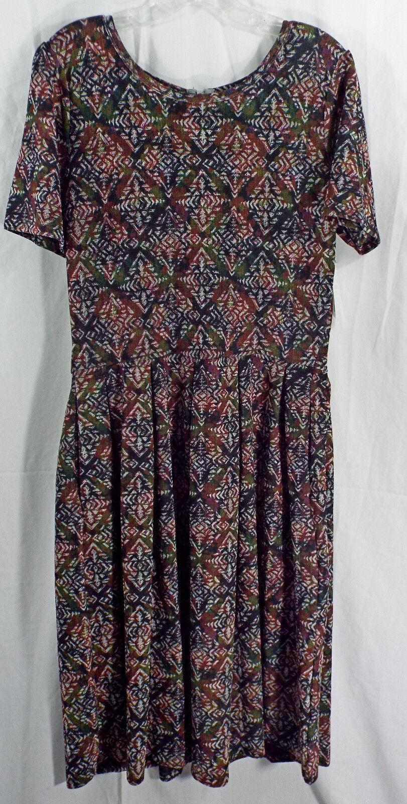damen LuLaRoe Dress XL Amelia Multi ColGoldt Geometic NWT