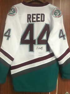 The Mighty Ducks Movie Jersey 44 Fulton Reed Ice Hockey Jersey White ... bb99da48d38