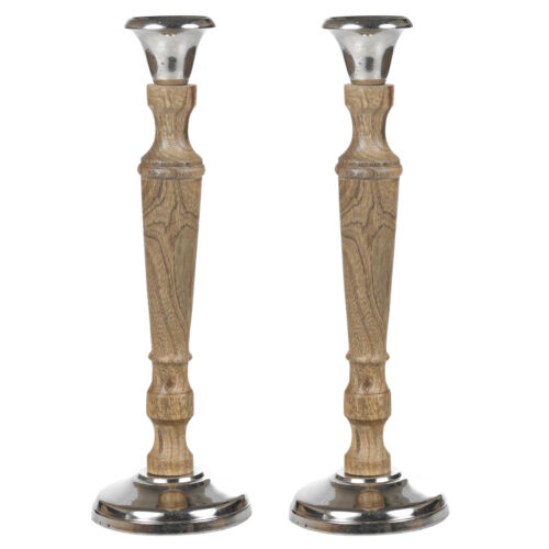 1 or 2 Wood /& Metal Traditional Dinner Candlesticks Pillar Candle Stick Holder