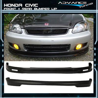 For 99-00 Honda Civic EK EK9 3Dr Mugen Front + Rear Bumper Lip Spoiler PP