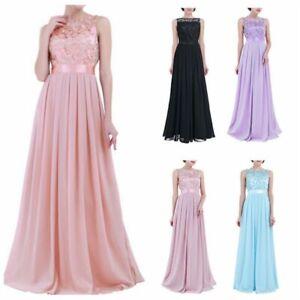 Women Lace Chiffon Wedding Bridesmaid Dress Elegant Party Long Formal Gown Prom