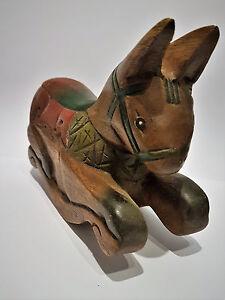 schaukelpferd pferd aus holz geschnitzt originell deko tierfigur braun skulptur ebay. Black Bedroom Furniture Sets. Home Design Ideas