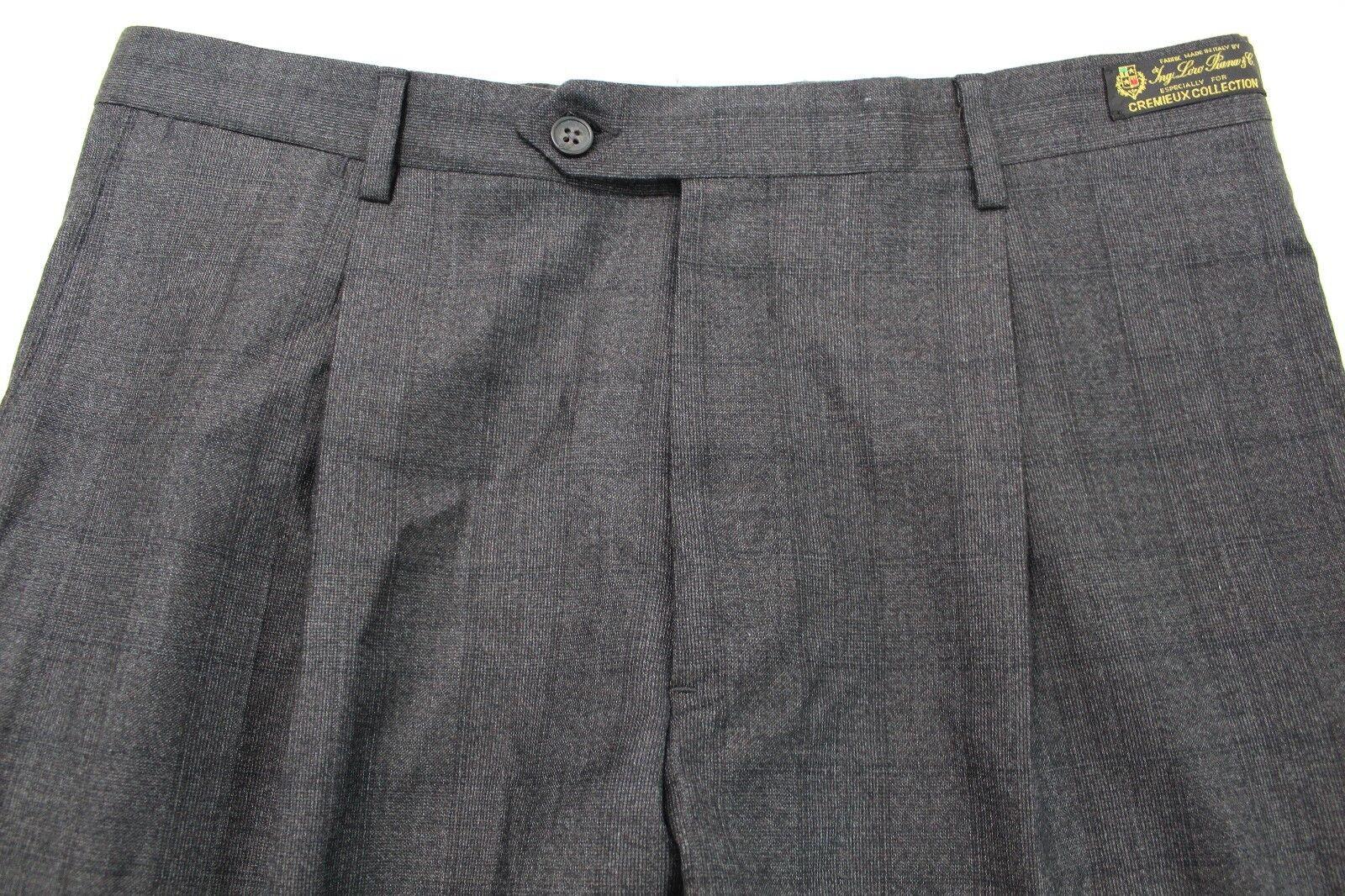 Men's DANIEL CREMIEUX Lgold PIANA Sz 35 Brown Pleat Wool Dress Pants