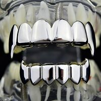 Best Grillz Full Fang Set Silver Tone Fangs Top And Bottom Shiny Vampire Teeth
