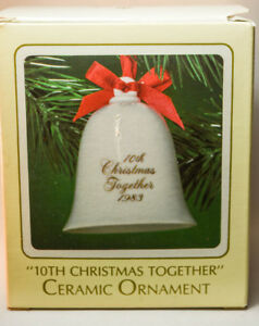 Hallmark-10th-CHristmas-Together-Ceramic-Bell-1983-Keepsake-Ornament
