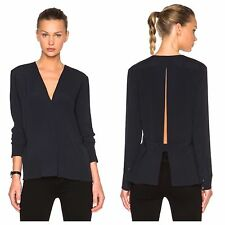 NWT Helmut Lang Washed Crepe de Chine Tie Open Back Top Navy XS