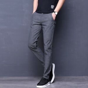 Mens Cotton Stylish Stretch Business Trousers Formal Casual Straight-leg Pants