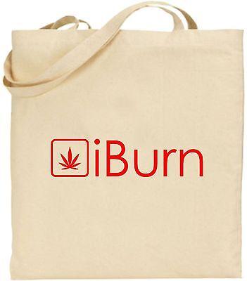 IBurn I brennen groß Baumwoll-tragetasche Lustig Gras Cannabis Marihuana Rauchen