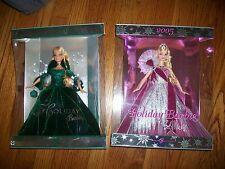 Lot of 2 Holiday Barbie 2004 Green DRESS & Bob Mackie Holiday 2005