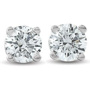 3-4Ct-Round-Diamond-Studs-Brilliant-Cut-Earrings-14K-White-Gold-Enhanced