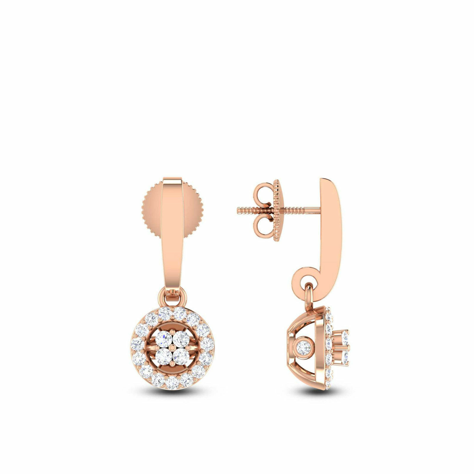 Pave 0.60 Cts Natural Diamonds Stud Earrings In Solid Certified 14K pink gold