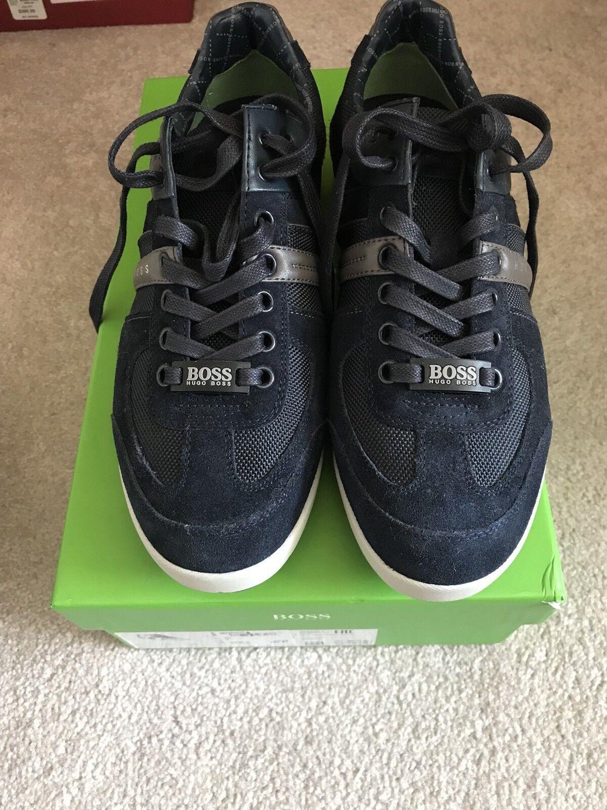 Nuova  scatola Hugo Boss Logo Scarpe scarpe da ginnastica Men Akeen Navy blu 40   7  245  nelle promozioni dello stadio