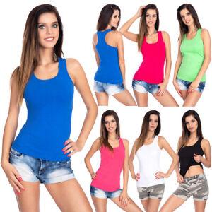 Damen-Basic-Tank-Top-Armellos-Baumwolle-Tunika-Boxer-Activewear-One-Groesse-FS3562