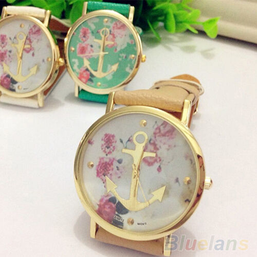 Women's Hot Stylish Faux Leather Floral Printed Anchor Quartz Dress Wrist Watch