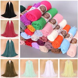 Cotton-Linen-Long-Foulard-Islam-Muslim-Hijab-arabe-Wrap-Chale-pour-Femmes-40-Couleurs