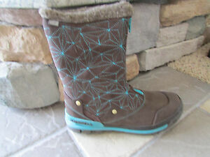 NEW-MERRELL-SILVERSUN-ZIP-WATERPROOF-LEATHER-BOOTS-WOMENS-10-5-BROWN-LEATHER
