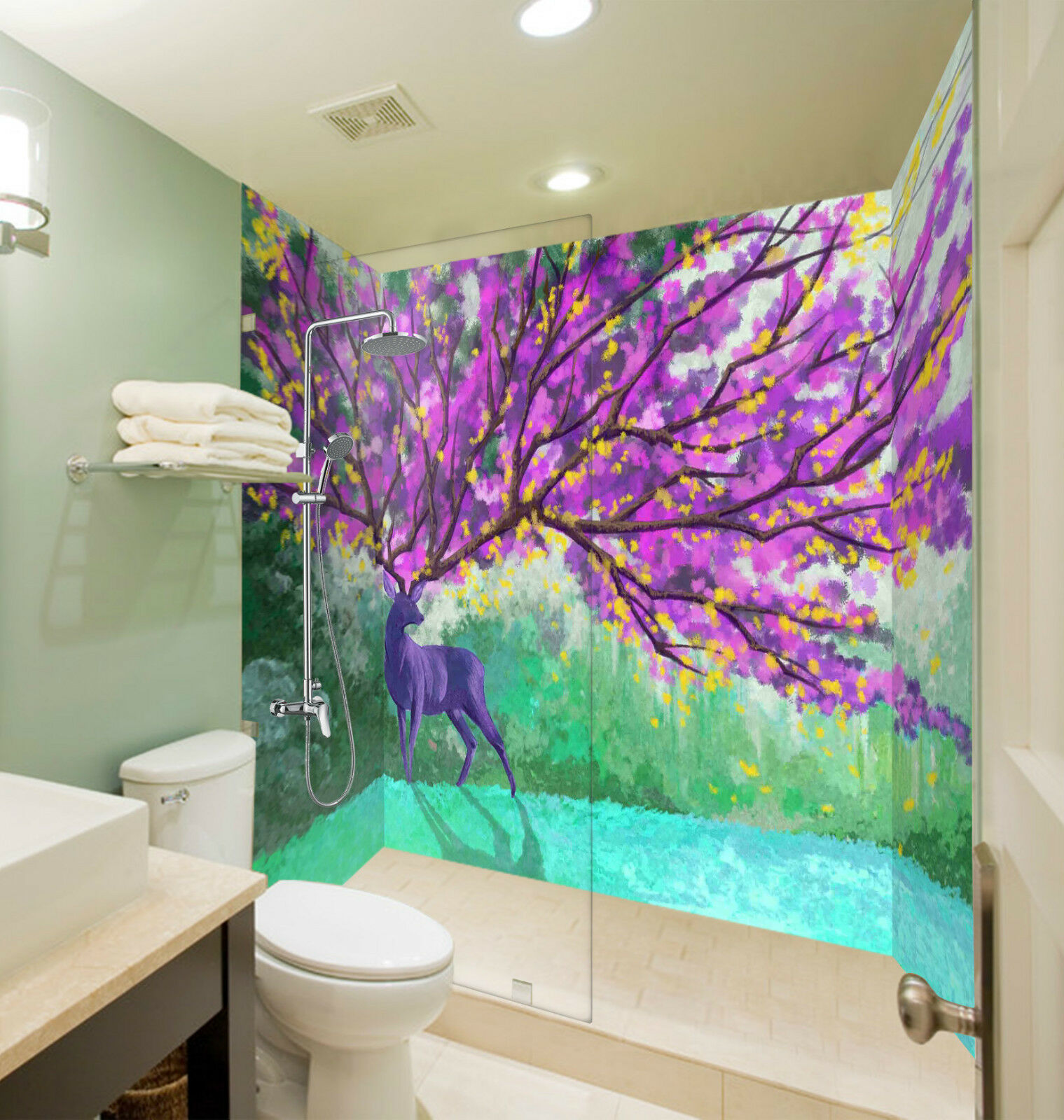 3D Deer Flowers Tree 11 WallPaper Bathroom Print Decal Wall Deco AJ WALLPAPER CA