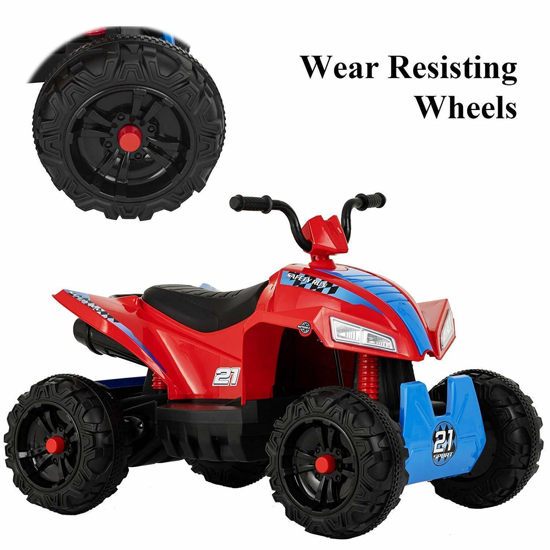おもちゃの車12 V電気ATVクワッド4ホイールw / LEDライトレッド&ブルーで2スピードキッズライド