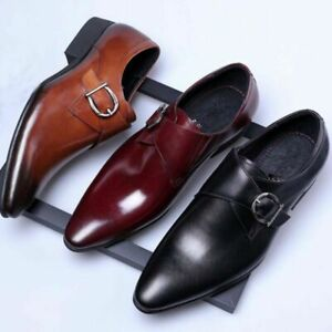 Mens-Oxfords-Leather-Shoes-Buckle-Loafers-Pointed-Toe-Wedding-Formal-Dress-Shoes