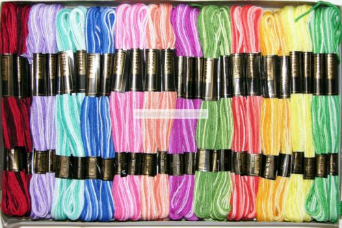 72 X abigarrada Madejas Trebla algodón hilo de bordar 12 Colores