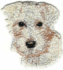 """2/"""" x 2 1//4/"""" White Chihuahua Head Portrait Dog Breed Embroidery Patch"""