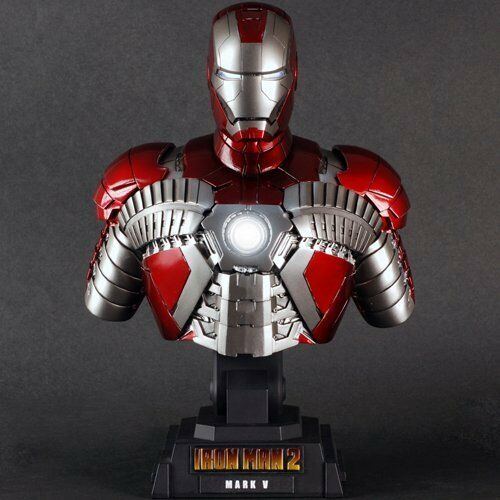 IRON MAN 2 MOVIE MARK 5 HOT TOYS LED BUST STATUE 1 4 COLLECTIBLE MARVEL AVENGERS
