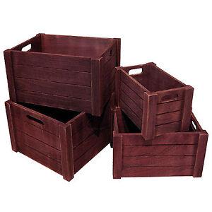 4 holzkiste weinkiste holzbox rustikale kiste deko. Black Bedroom Furniture Sets. Home Design Ideas
