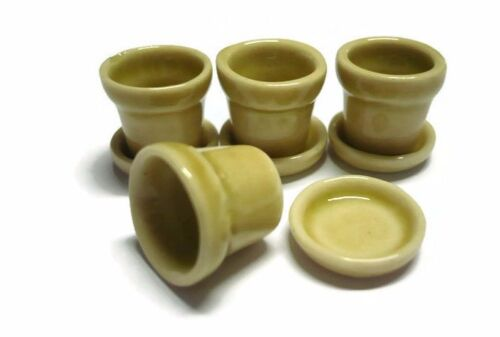 Set of 4 Yellow  Pots with Saucer Dollhouse Miniatures Supply Garden Outdoor
