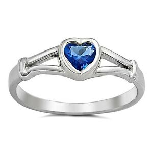.925 Sterling Silver Ring size 2 Heart Kids Baby Blue Sapphire Midi New j06