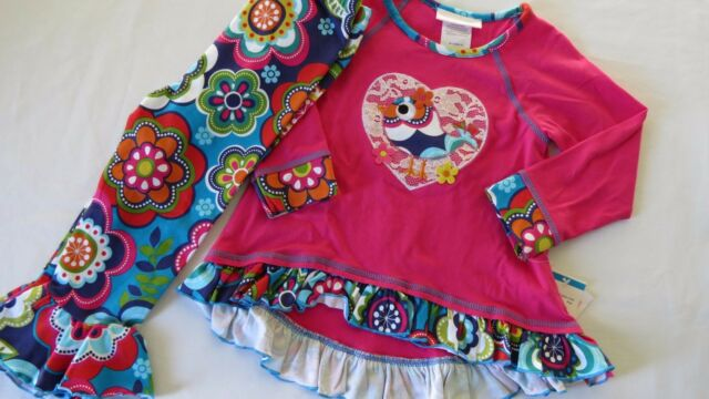 NEW Bonnie Jean Girls Ruffle Pants Shirt Love Bird Outfit Fall Flower Leggings