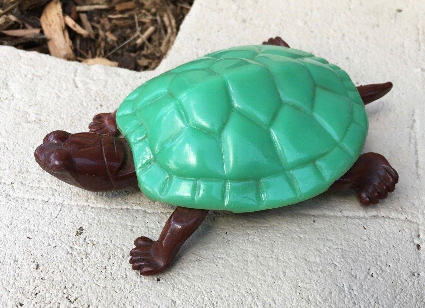 Eppy USA Slowpoke Turtle 1947 Green Shell Brown Body Plastic Vintage Push Toy