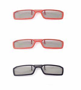 3-paia-di-3D-Clip-SUGLI-OCCHIALI-2-ROSSO-1-NERO-Passivo-3D-TV-CINEMA-3D