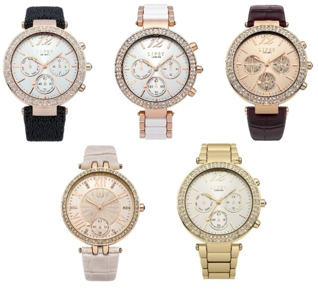 LIPSY STONE SET LADIES MULTI DIAL WATCH GOLD ROSE CHROME LEATHER STAINLESS  STEEL