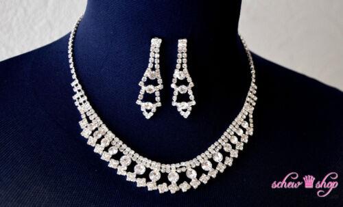 Set Collier Necklace Silver Rhinestone Bridal Jewellery Wedding Bride Jewelry