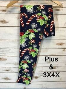 EXTRA PLUS SIZE Fits 16-22 NAVY BURGUNDY PLAID BUTTERY SOFT LEGGINGS NWT